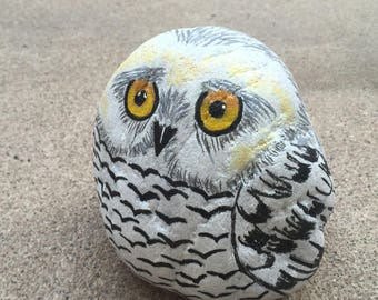 Owl Painted Rock, Owl Painting, White Owl, Owl Art, Bird Painting, 3D Painting, Pet Rock, Stone Painting, Unique Art Gift, MelidasArt