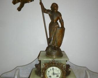 Large Art Nouveau French spelter onyx Jeanne D'Arc figural mantle clock 1890