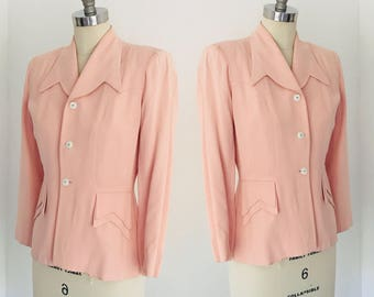 Vintage 40's Fitted Jacket Blazer 3/4 Sleeve l S