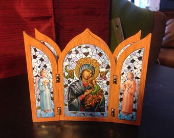 """Our Lady of Perpetual Help, 4"""" x 5"""" wood tripich"""