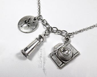 Max Caulfield Life is Strange Charm Necklace with Silver Dear, Lighthouse, and Camera
