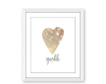 70% OFF THRU 7/1 ONLY Sparkle, Printable Art Print, Bokeh Print, Instant Download, Bokeh Heart Print, Sparkle Print, Champagne Sparkle, 8x10