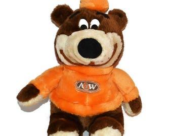 """Vintage A&W Root Beer Plush Rooty Bear Orange Brown Stuffed Teddy Bear Rootbeer Mascot 14"""""""