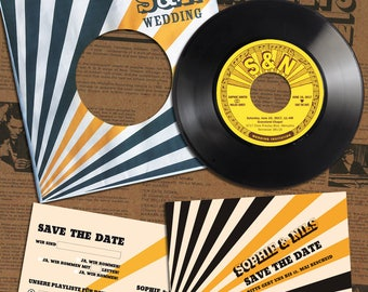 Rockabilly Wedding Invitation Kit made from recycled Record | Invitation Card | Invitation Set | Wedding Cards