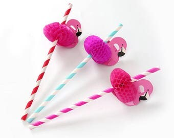 20pcs Flamingo Drinking Straws - Summer Beach Party - DIY Wedding, Party, Bridal Shower, Props