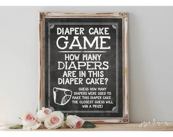 Instant 'Diaper Cake Game' Printable 8x10, 11x14 Sign Baby Shower Decor Digital File Chalkboard Guess the Diapers in the Cake