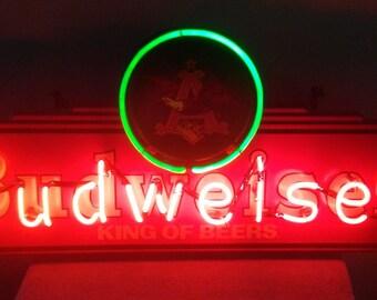Vintage Budweiser Bar Light with Neon Lights