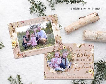 Muted Foliage Christmas Card - Happy Holidays May your Holidays be filled with joyful noise