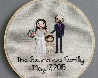 CUSTOM Family Cross Stitch Portrait - THREE Figures