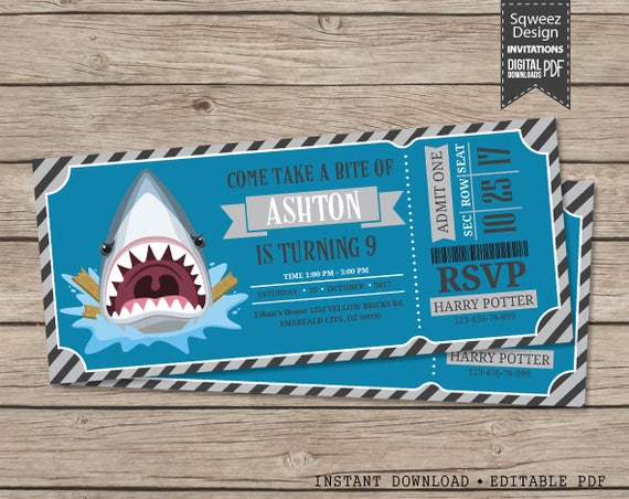 Shark birthday invitation funny party ticket printable instant il570xn filmwisefo Images