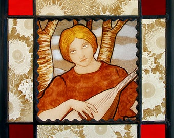 Art nouveau suncatcher, art nouveau vitrail, suncatcher, girl playing lute,  beautiful suncatcher, jugendstil suncatcher, kilnfired glass