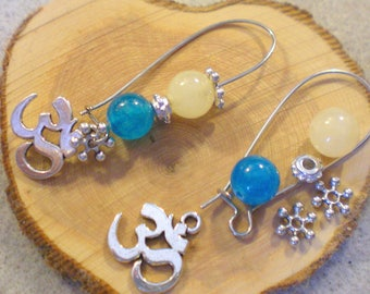 Kit GdE BO summer * OHM beads and blue and cream * silver plated