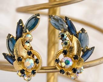 Vintage Blue Rhinestone Earrings - 1950s Juliana Climber Earrings - Mad Men Gift For Her - 1950s Flower Earrings - Aurora Borealis - OOAK