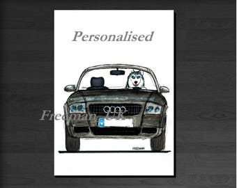 Custom Audi TT and Siberian Husky , Greetings card