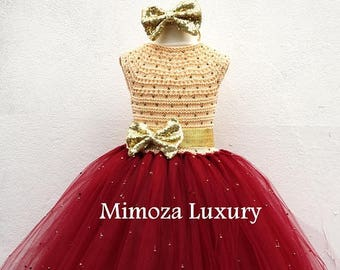 SALE Burgundy & Gold Flower girl dress, Christmas tutu dress, bordo gold tutu dress, deep red gold bridesmaid dress, crimson gold princess d