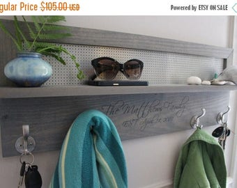 ON SALE Laser Engraved 4 Hook Coat Rack, You Pick the Stain and Mesh Color, Beautiful Stained Coat Rack with Laser Engraved Family Name