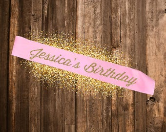 PINK SASH Custom Birthday