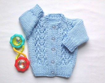 Infant Baby sweater - 0 to 3 months - Blue baby sweater - Knit baby cardigan - Baby  shower gift