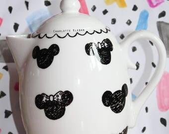Hand drawn monochrome porcelain Minnie Mouse Mickey Mouse Disney large teapot