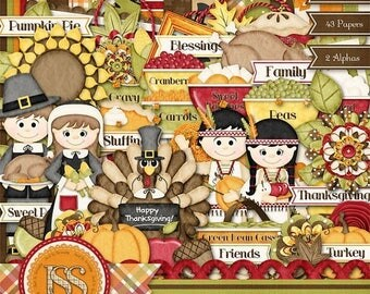 On Sale 50% Thanksgiving Digital Scrapbook Kit Gobble Gobble,Scrapbooking