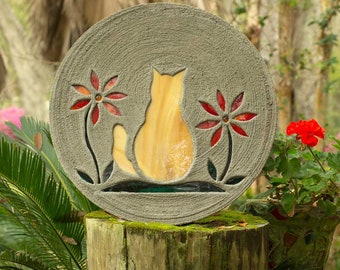 Orange Tabby Kitty Cat Stepping Stone Made of Concrete and Stained Glass Big 1 1/2 Foot Diameter Perfect for Your Garden  Pet Memorial #804
