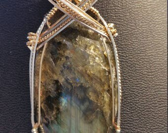 Labradorite pendant necklace in 14K gold filled & sterling wire