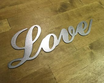 Love cursive writing steel metal wall art