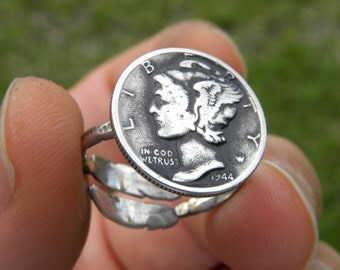 Ring Vintage Mercury dime coins various readable dates  925 sterling silver feather adjustable ring