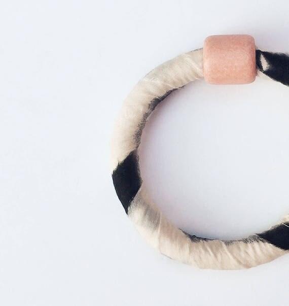 Fabric Bangle With Ceramic Bead