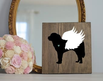 St Bernard Angel Wing Silhouette, Remembrance Sign, Dog Memorial, Loss of Dog, Saint Bernard, Pet Loss, St Bernard Memorial, Dog Memorial