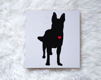 Hand Painted German Shepherd Silhouette on Painted Grey Wood, Dog Decor Dog Painting, Gift for Dog People, New Puppy Gift, Housewarming Gift