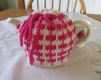 Pink and Cream Crocheted Tea Cozy - Tea Pot Cosy - Cotton Tea Pot Cozy - Rustic Decor - Teapot Cover - Tea Party