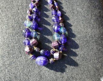 Multi-strand vintage bead necklace, Purple