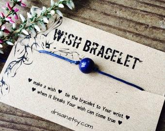 Lapis lazuli wish bracelet, Friendship bracelet, bff bracelet, cotton cord bracelet, minimalist bracelet