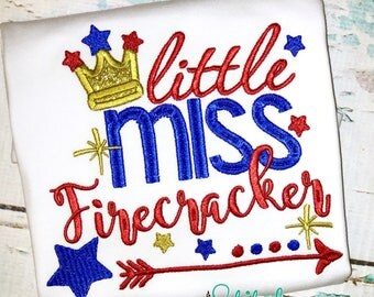 SHIPS FAST!!  Little Miss Firefracker, 4th of July Applique, Fourth of July Applique, Fireworks Applique, Firecracker Applique, Firecracker
