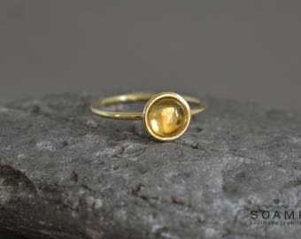 14k solid gold citrine ring, statement gold citrine  ring, yellow gem gold ring