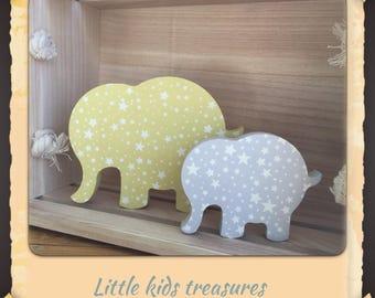 Chunky freestanding wooden elephants - set of 2 (yellow/grey) - Little kids treasures