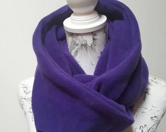 Fleece Infinity Scarf - Deluxe Fleece Infinity Loop Scarf , Neckwarmer Cowl Scarf ,Winter Fleece scarf Plain Proper Purple