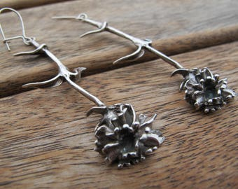 Long Silver Flower Earrings, Silver Flower Earrings, Flower Earrings, Sterling Silver Earrings, Silver Dangle Earrings, Nature Earrings