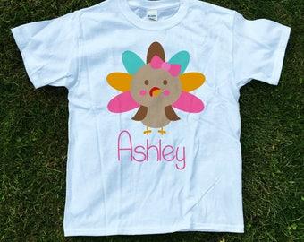 personalized girls turkey shirt, Girls Thanksgiving shirt, turkey day shirt, shabby chich thanksgiving shirt, 1st Thanksgiving shirt