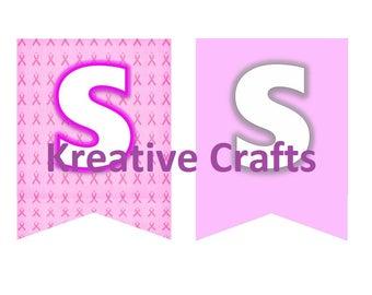 Breast Cancer, Pink Bunting, Digital Download, Celebration, Instant Download