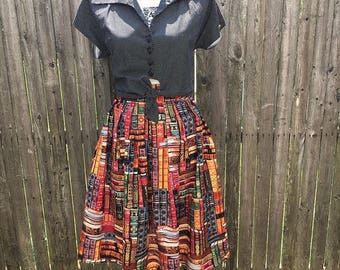 Packed Books Swing Skirt with Pockets