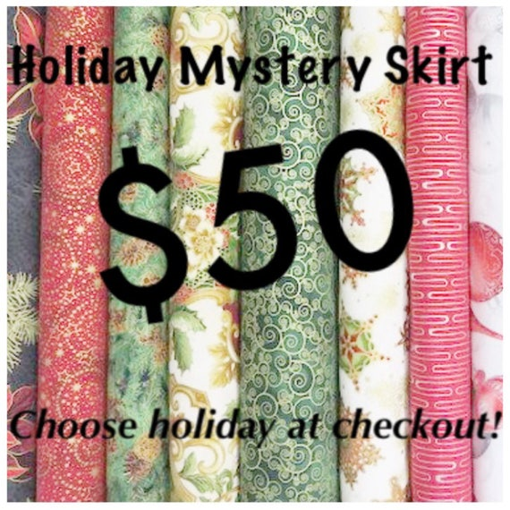 Mystery Retro Pinup Skirt with Pockets in Suprise Holiday Fabric