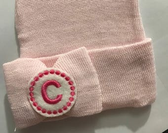 Monogramed Initial with Medium Bow on Pink or Pink/White Stripe Newborn Hospital Hat! 1st Keepsake! Great Gift