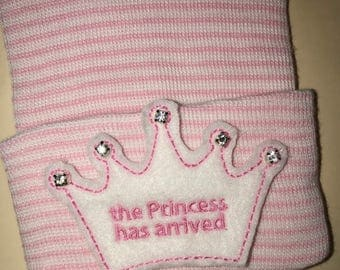 Newborn Hospital Hat. Princess has arrived 1st Keepsake! Super Cute! White Monogrammed Tiara on White/Pink Hat! With Rhinestones.Great Gift!
