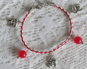 Leather Bracelet braided red and white with small dog charms