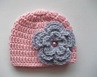 Crochet baby hat Pink baby beanie Baby girl hat Newborn girl hat Baby girl outfit Newborn beanie Girl hospital hat Take home hat Girls hats