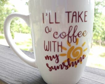Sunshine Coffee Quote Mug White Burgundy Inside Java Good Morning Cup of Joe