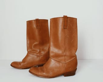 Golden Brown Leather Boots - Women's