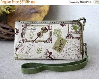 SALE iPhone SE Wallet Wristlet Case, Linen Music iPhone 5s Wallet Case, Leather Fabric Case, Wallet phone case iPhone 5s, iPhone SE wallet c
